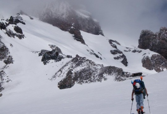 Berndt Bittlingmaier approaching Camp Muir on an MRA Patrol