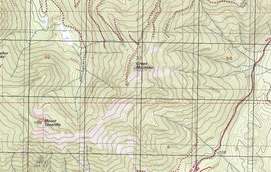 Topo map of Green Mountain and surrounding area.